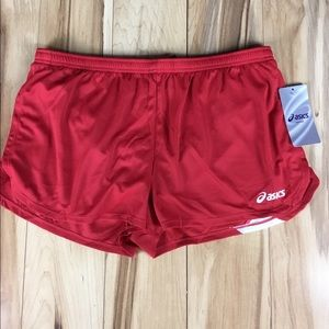 NWT ASICS BreakThrough Running Shorts Size XL red